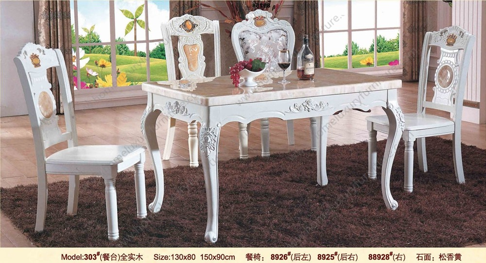 Chinese furniture marble inlay dining table and chairs top