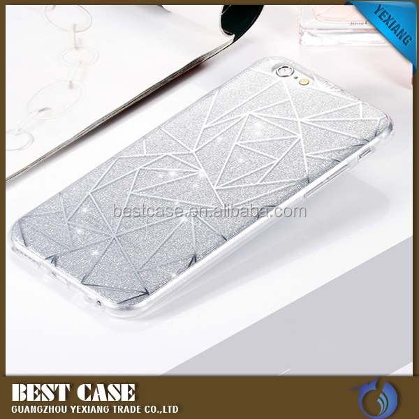 New Products 2016 Ling Plaid Pattern Electroplating TPU Glitter Case For Iphone 5 Back Cover