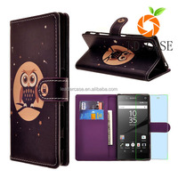 cheap price Cell Phones Printed PU Leather Wallet Flip Case Cover Stand for Sony Xperia Z5