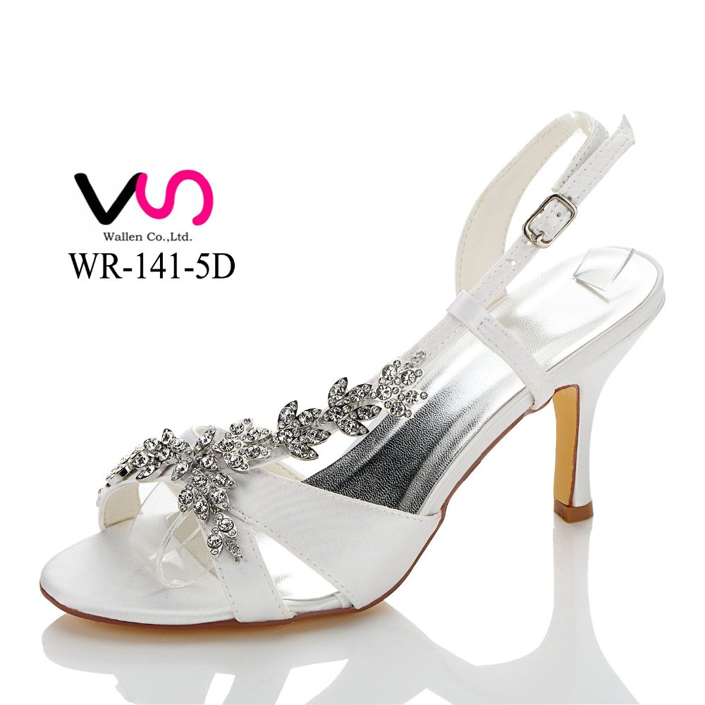 New common satin women shoes dyeable satin handmade wholesale bridal wedding shoes WR-141-5D in white color with diamond chain