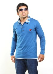 Solid blue long sleeves polo shirt