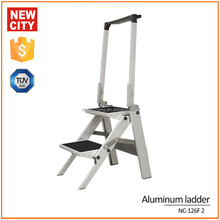 Light weight 2 step compact aluminum folding ladder