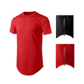 fashion mens streetwear longline scoop bottom t shirt with side zippers fitted elongated t shirt