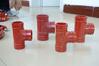 cast iron quick release pipe clamps pipe tee joints grooved fittings China supplier