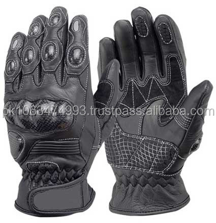 Short Motorbike Motorcycle Gloves Black Analine Leather Gloves