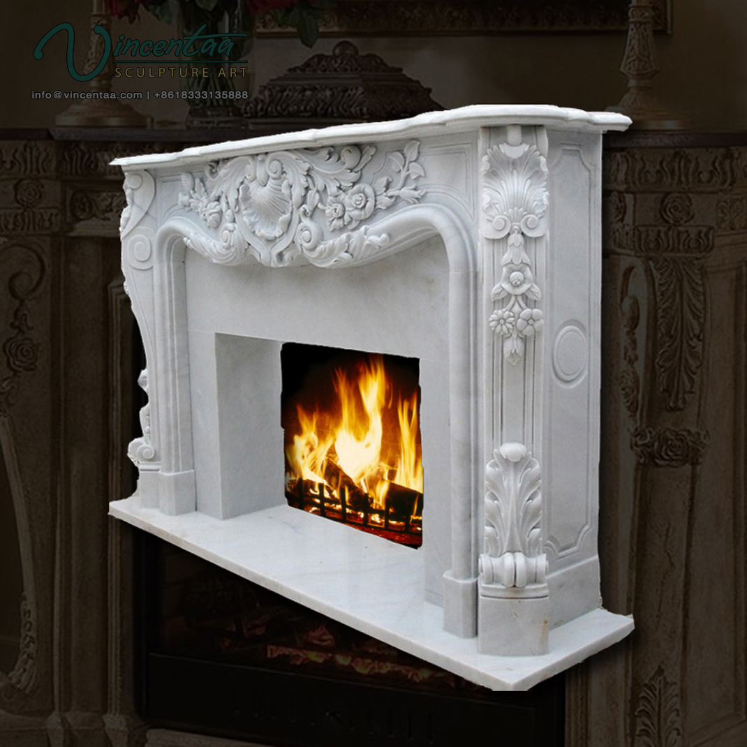 2018 Natural Carved Louis Luxury Mantels Italian Large White Stone Marble Fireplace Mantel Carving Mental for Sale