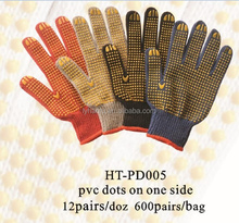 cotton gloves for industrial use/ anti slip gloves pvc dotted /safety gloves cotton glove with pvc dots