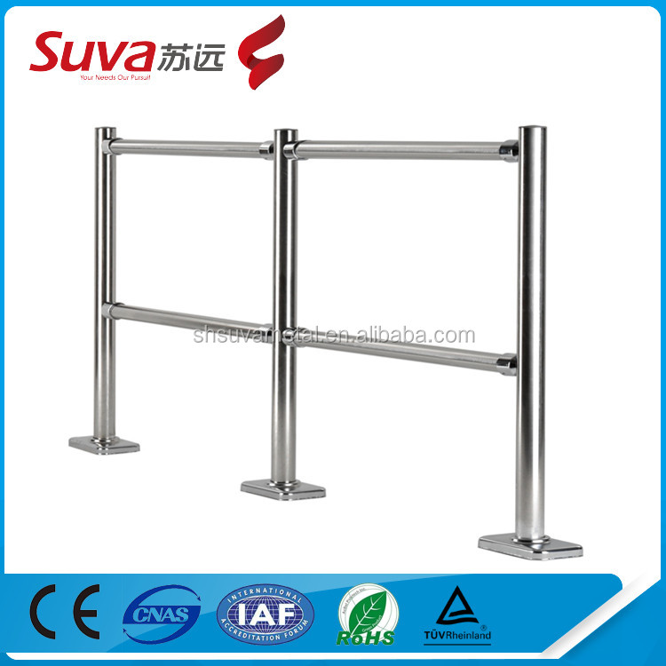 Supermarke crowd control Steel Fence Chrome removable handrail
