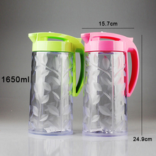 High Capacity 1650ml Leaf Pattern Hot and Cold Water Jug Plastic Juice Beverage Water Pot Bottle Kitchen Accessories Sets 4 Cups