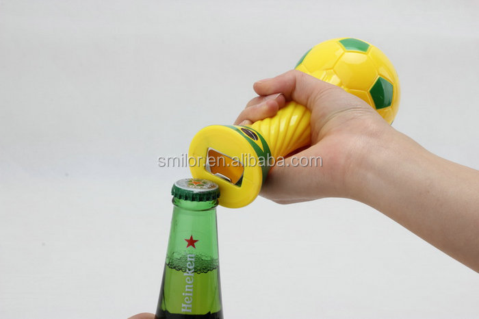 High Quality Sand Hammer Plastic Football Shape Bottle Opener Manufacturer