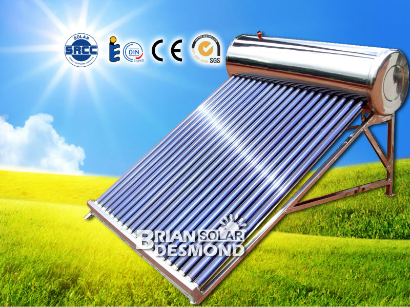 India markets Anti-corrosion non-pressurized vacuum tube solar hot water heater