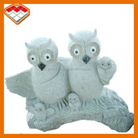 Hand carved granite stone mother and children owl statues for outdoor decoration