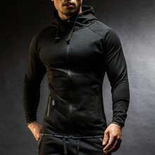 Polyester Spandex Cool Style Zip Up High Collar Fashion Gym Slim Fit Custom Men Muscle Hoodie Sport Wholesale Fitness Clothing