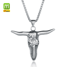 Latest Fashion Jewelry2017 Silver Cow Head Jewelry Body Long Chain Ngau Tau Pendant Necklace