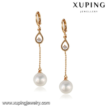 24096-Xuping fashionable long chain pearl earring beaded for spring festival