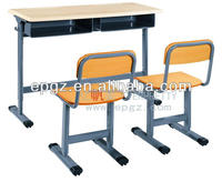 High Quality Height Adjustable Wooden Table, School Student Double Desk And Chair, Wood Top Table Metal Leg
