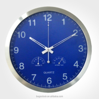 Aluminum Frame High quality wall clock in thermometer ans hygrometer Meter