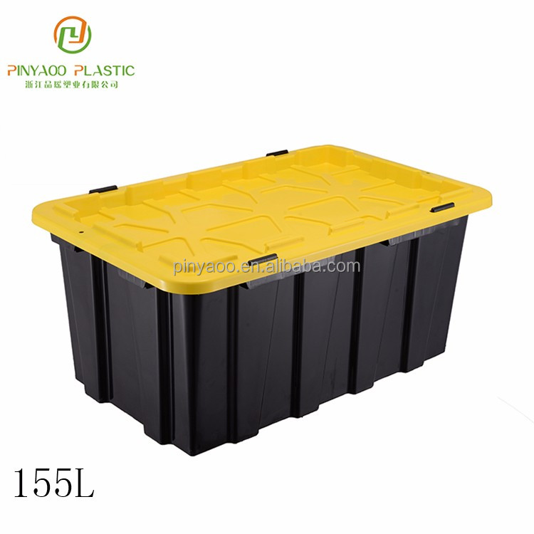 Wholesale stackable various color plastic storage crates with lids