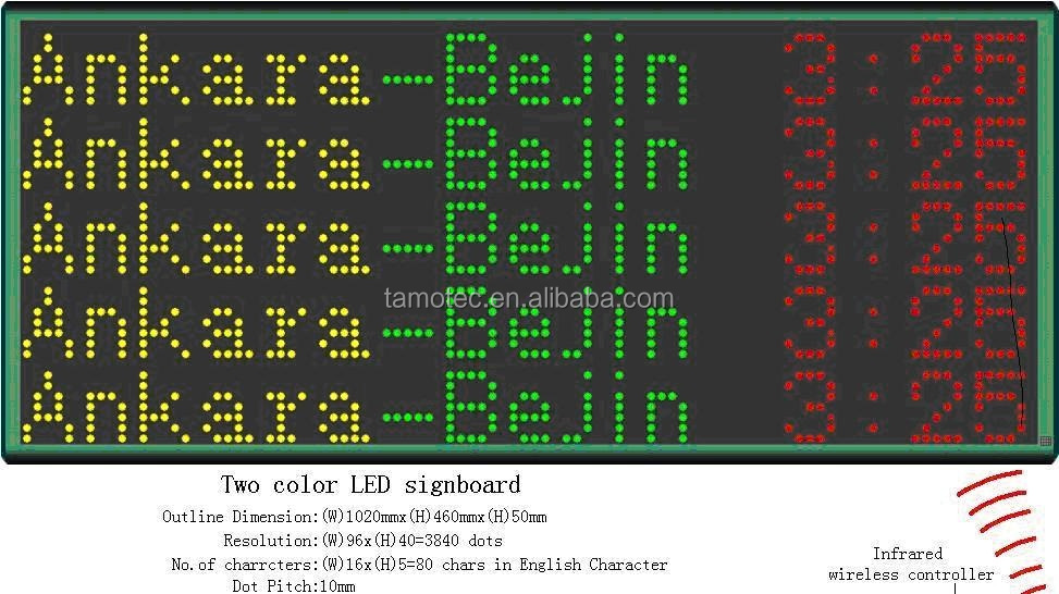 Wireless running message Bus LED Destination screen display