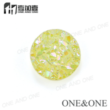 2018 New Design 100% Natural Druzy Stone Drusy Bead Round 6mm Fluorescent Yellow Wholesale price