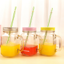 New products 2015 lead free glass mason jar with lid and straw, mason jar with handle and straw