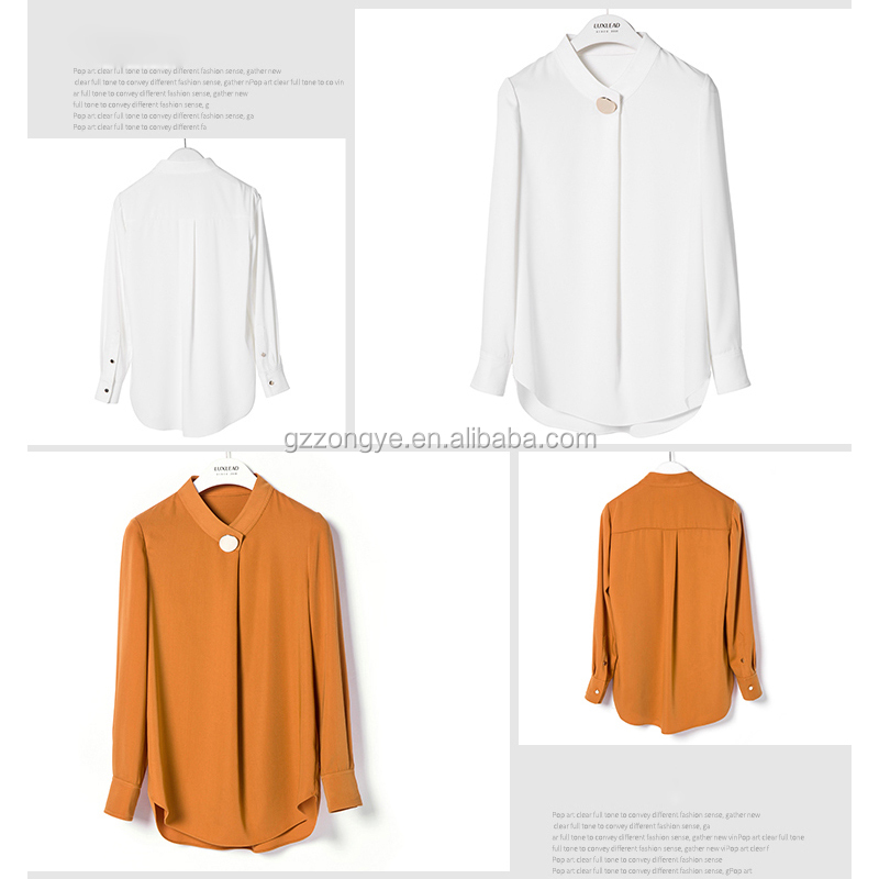 New style of Autumn fashion longsleeve one-piece blouse metal button-down shirt China garment manufacture