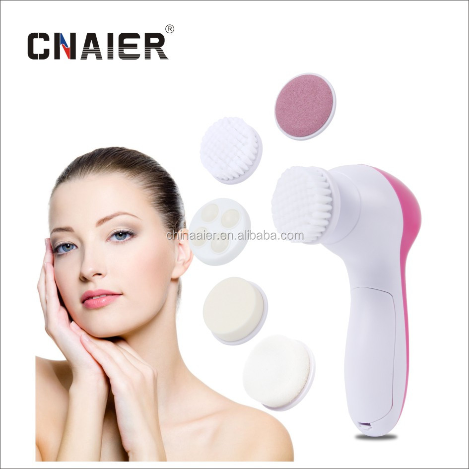5 in 1 Electric Facial Cleanser Manufacture Beauty Care Tools Vibration Facial Pore Cleanser Brush Rotation Facial Massager