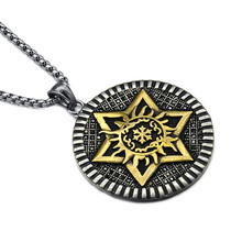 Men 316 L Stainless Steel Jewelry Vintage <strong>Silver</strong> And Gold Plated Two Tone Star Necklace