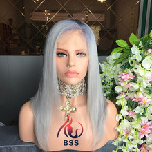 Factory Direct Sale Silky Straight Brazilian Hair Silver Grey Human Hair Lace Wigs