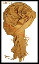 Women's Winter Gold 55% Acrylic/45% Viscose Pashmina Solid Tassel Shawl Wrap Scarf