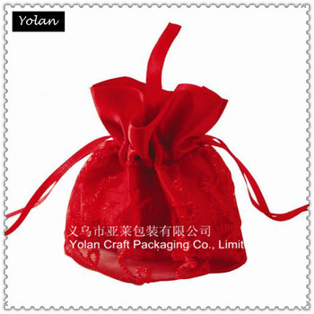 wedding favor organza bag Rose carmine organza bags in Round shape bottom