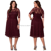 2014 hot sale plus size lace evening dress burgundy mother of the bride evening dress