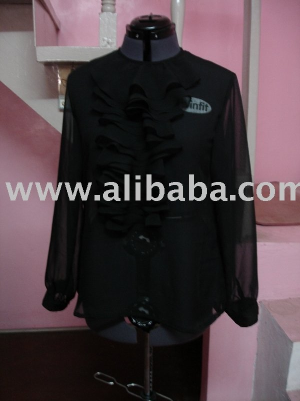 Black ruffled chiffon blouse