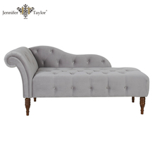 European neoclassical royal luxury tufted chesterfield opal gray fabric chaise lounge