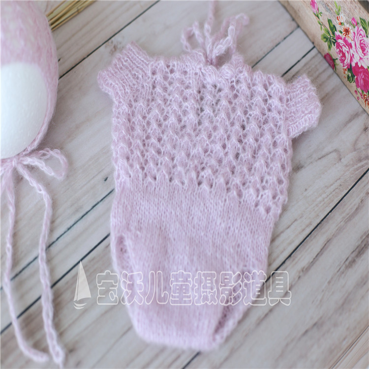 Mohair baby bonnet and romper Newborn crochet hat and overall Newborn photography props