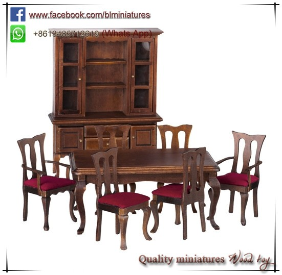 1:12 Wooden Doll Furniture 8pc Dining Room Set Miniature Dollhouse Kits
