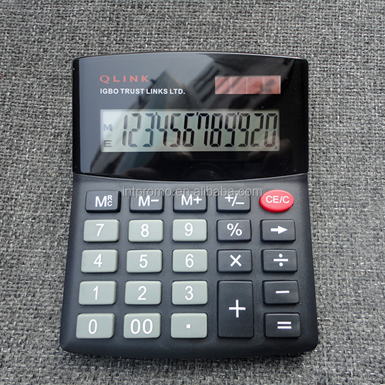 12 digit r solar powered dual power plastic key midde size desktop calculator