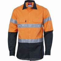 Cotton Drill Long Sleeve High Visibility Button Shirts