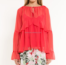 Summer Sheer Long Sleeve Style Blouse Woman Red Chiffon Ruffle Blouse Wholesale