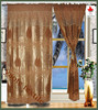 south american style burnout fabric window curtain with satin lining and valance