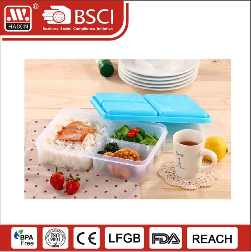 1/2/3 Compartment reusable dishwashable plastic meal Prep Containers 3 compartments oem microwavable Food Containers with lids