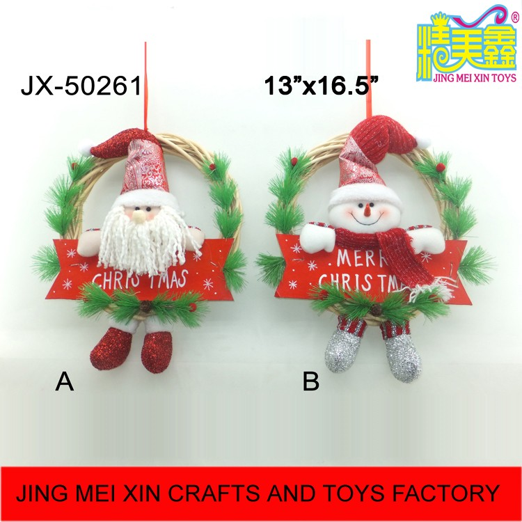 Bulk gift ideas santa claus snoman christmas wreath for wall hanging decoration