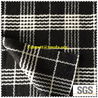 Black white color window pane design jacquard knit boiled Woolen Fabric, Woollen Cloth Fabric, Wool Cloth Fabric