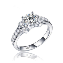 Luxurious Jewelry 925 Sterling Silver Ring Women Fashion Topaz CZ Diamond Engagement Ring