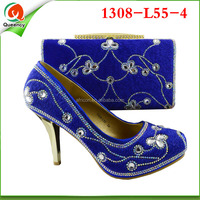 1308-L55-4 4 different color available fashion Italian matching shoe and bag set for wedding and party African ladies