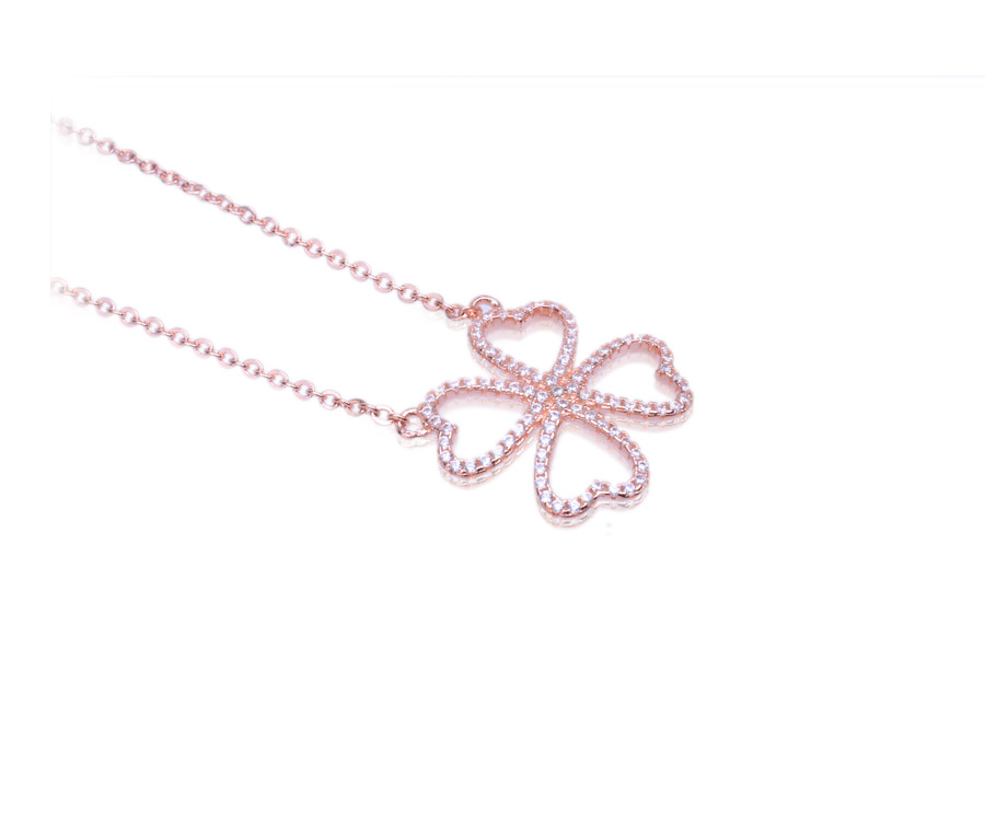 four leaf clover necklace rose gold lucky charm necklace jewelry