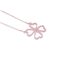 Four Leaf Clover Necklace Rose Gold
