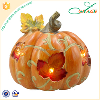 2016 Thanksgiving decoration resin LED light harvest pumpkin