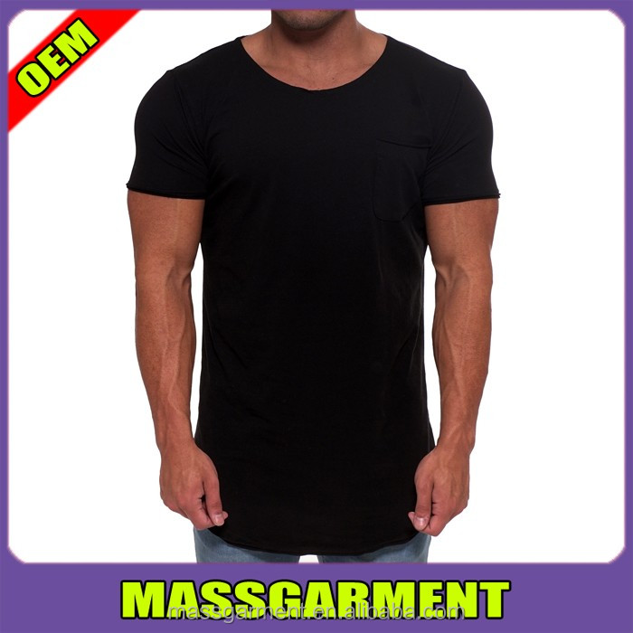 Scoop Neck Ture Black T Shirt Gym Wear T Shirt With Curved Bottom