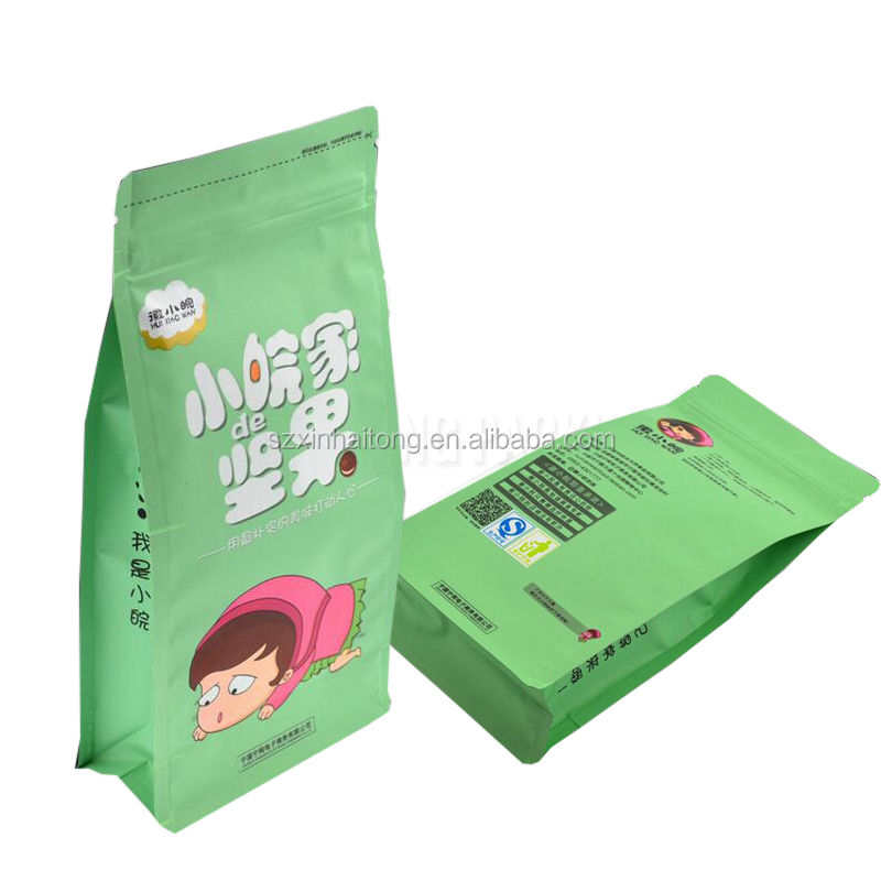 New products lovely design customized plastic flat bottom zip bag for nut/dried food